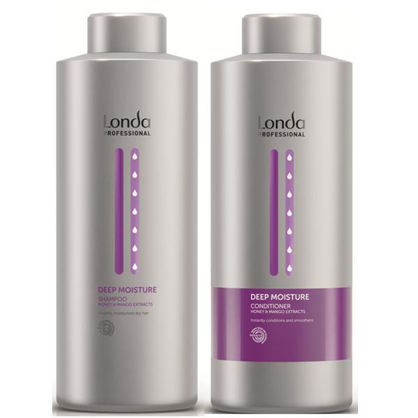 Pachet cu Efect Hidratant - Londa Professional Deep Moisture: Sampon 1000 ml, Balsam 1000 ml