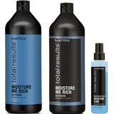 Pachet cu Efect Hidratant - Matrix Total Results Moisture Me Rich: Sampon 1000 ml, Balsam 1000 ml, Tratament 150 ml