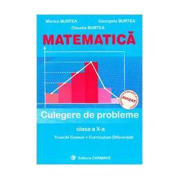 Matematica clasa 10 culegere de probleme trunchi comun + curriculum diferentiat - Marius Burtea, Georgeta Burtea, Claudia Burtea, editura Carminis