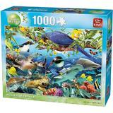 King Puzzle 1000 piese Animale tropicale si păsări minuni ale sălbăticiei - 68*49 cm