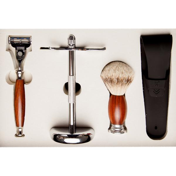 Set cadou barbierit cu Safety Razor, 3 lame, maner din lemn mahon, Mach 3, pamatuf par bursuc si suport metal