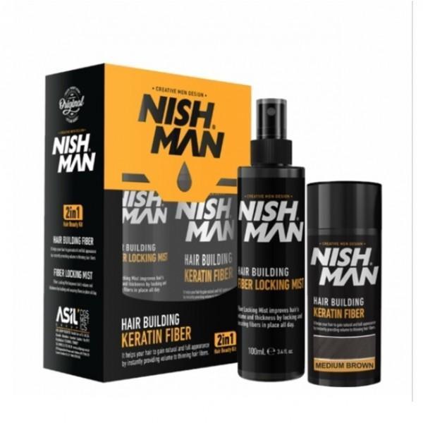 Set cadou fiber pentru parul rar Nishman Tratament 100ml + Spray 21ml Saten