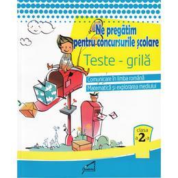 Ne pregatim pentru concursurile scolare. Teste-grila - Clasa 2 - Romana, mate, expl. mediului, editura Tiparg