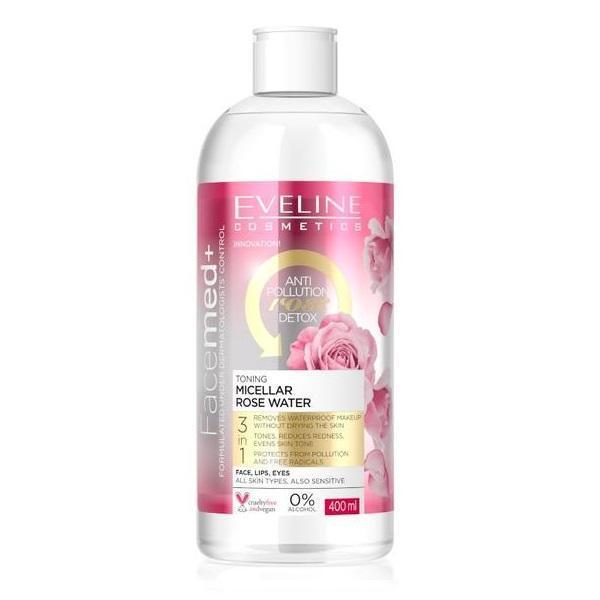 Apa micelara tonifianta de trandafiri, Eveline Cosmetics, Facemed+, Toning Micellar Rose Water 3 in 1, 400 ml esteto.ro