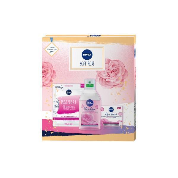Set cadou tratament 40ml + gel crema 50ml - Nivea Soft Rose