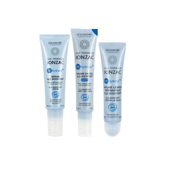 Pachet promo Jonzac Rehydrate Plus - Balsam Gel 40ml + Ser 30ml + Balsam Buze 15ml - hidratare intensa zi și noapte