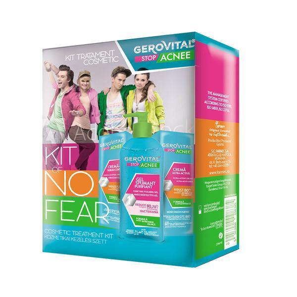 Set cadou Kit 3 produse tratament cosmetic Gerovital stop acnee ( gel spumant 150ml + crema gel 50ml + crema ultra activa 15ml )