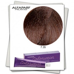 Vopsea Fara Amoniac - Alfaparf Milano Color Wear nuanta 7.35 Biondo Medio Dorato Mogano