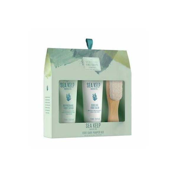 Set cadou Sea Kelp, 75 ml Exfoliant pentru talpi + 75 ml Balsam racoritor +Piatra pentru exfoliere cu maner de lemn esteto.ro