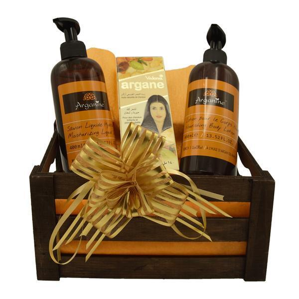 Set cadou cutie lemn, produse cosmetice Arganine cu ulei de argan, sapun lichid 400 ml, lotiune de corp 400 ml, ulei par/piele Valona 140 ml esteto.ro