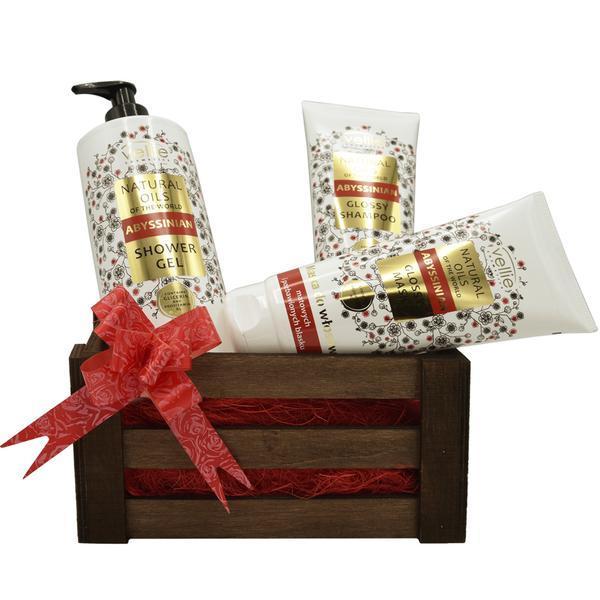 Set cadou cutie lemn, produse cosmetice cu ulei de Abyssinian, gel de dus 500 ml, sampon 250 ml, masca de par 200 ml esteto.ro