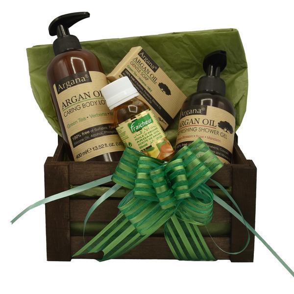 Set cadou cutie lemn, produse cosmetice cu ulei de argan, Argana, lotiune de corp 400 ml, gel de dus 200 ml, ulei fraicheur 60 ml, sapun 40 gr esteto.ro
