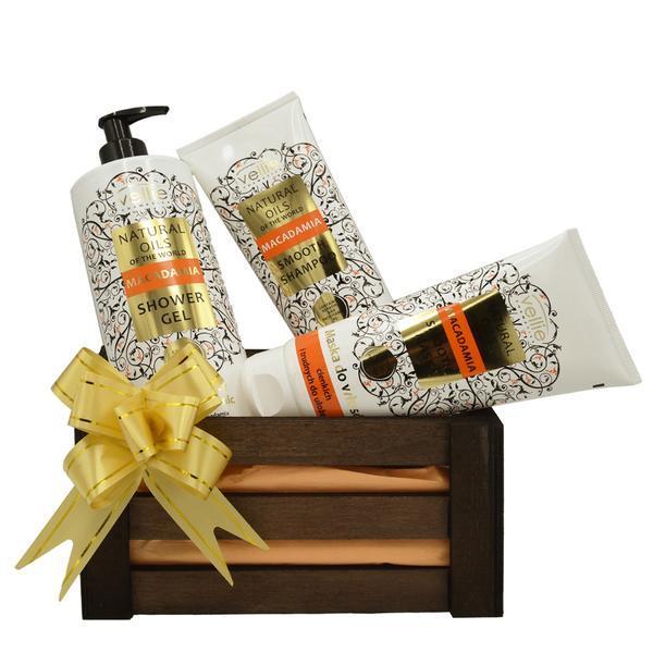 Set cadou cutie lemn, produse cosmetice cu ulei de macadamia, Gel de dus 500 ml, Sampon 250 ml, Masca de par 200 ml