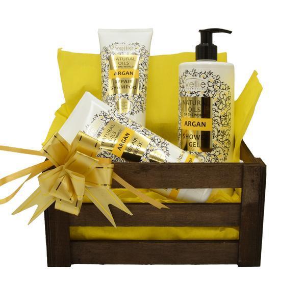 Set cadou cutie lemn, produse cosmetice cu ulei de argan, Gel de dus 500 ml, Sampon 250 ml, Masca de par 200 ml, Vellie esteto.ro