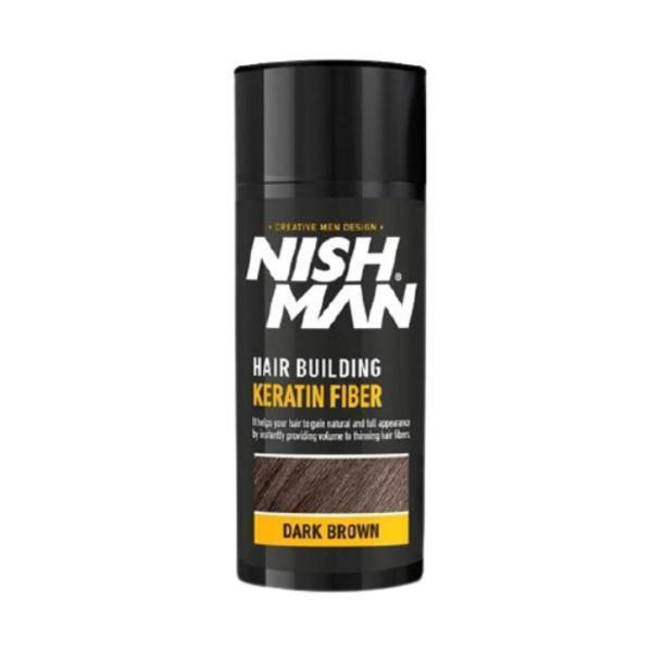 Pudra fiber pentru parul rar Nish Man Saten inchis, 21g