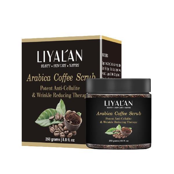 Scrub Arabica Coffee pentru corp & fata, LIYAL'AN, Exfoliant puternic anticelulitic, Terapie de reducere a ridurilor, 250g