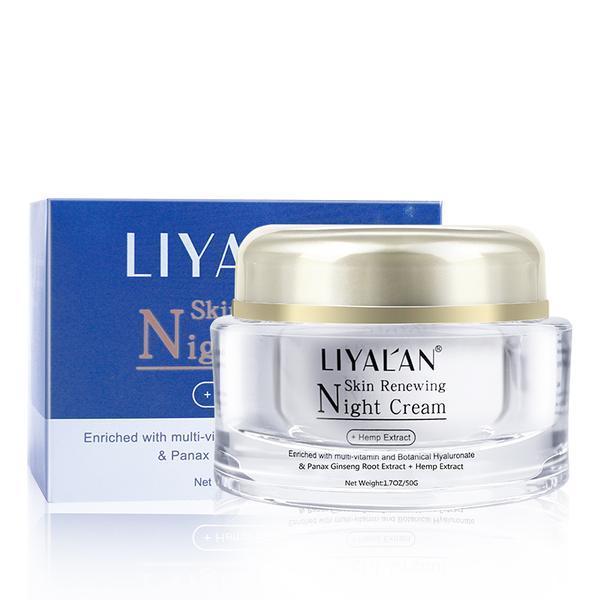 Crema de noapte, LIYAL'AN, Imbogatita cu multi-vitamine, Extract de radacina Panax Ginseng, Extract de canepa, 50g