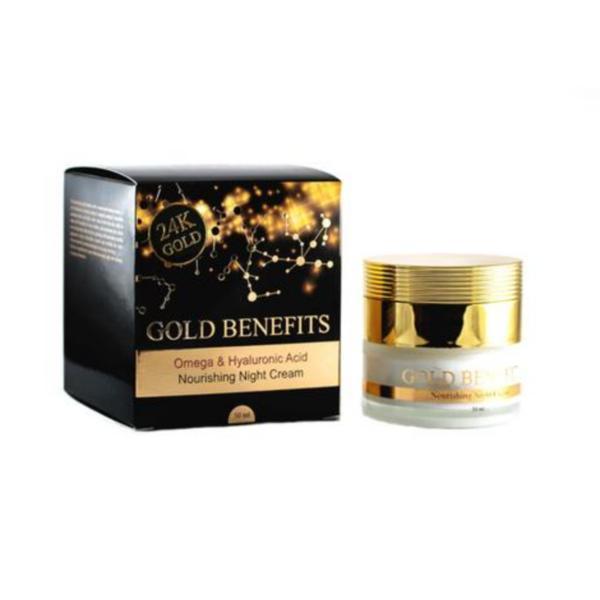 Crema de Noapte Hidratanta cu Aur 24K, cu Omega 3, 6, 9 si Acid Hialuronic, pentru toate tipurile de ten, Gold Benefits, 50ml