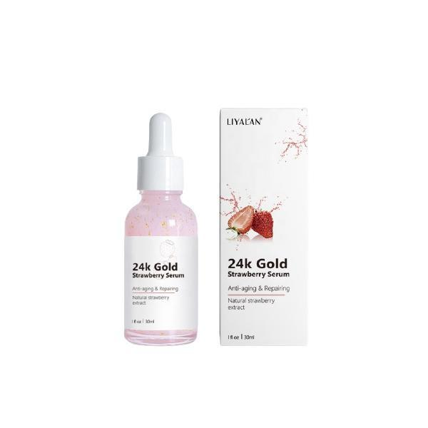 Ser facial cu particule de Aur 24k, Extract natural de capsuni, LIYAL'AN, Anti-aging, Regenerator, 30 ml esteto.ro