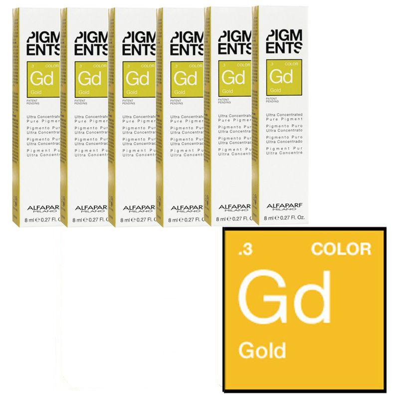 Set Pigment Concentrat Auriu - Alfaparf Milano Ultra Concentrated Pure Pigment GOLD 6 x 8 ml
