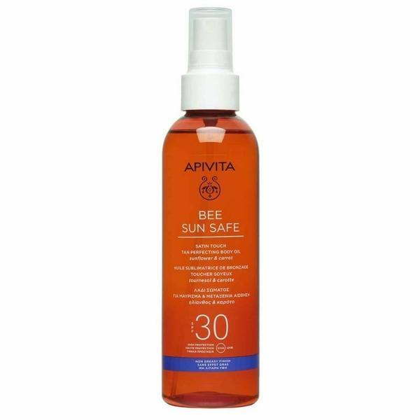 Ulei pentru bronzare, Satin Touch Tan Perfecting Body Oil SPF30, Apivita, 200 ml