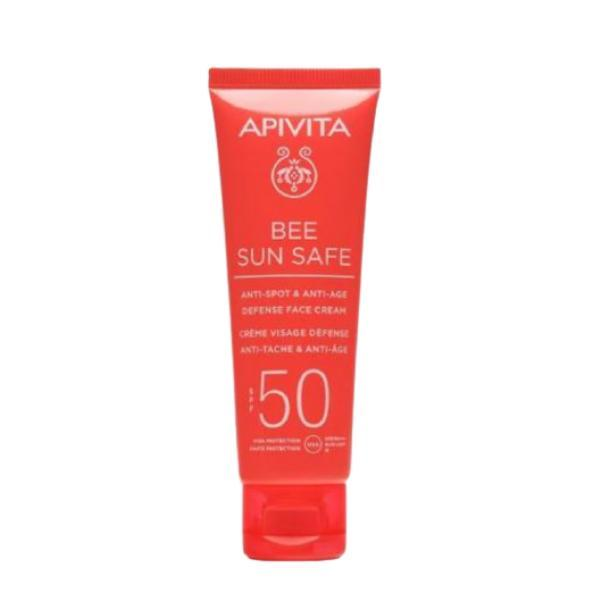 Lotiune de plaja, Anti-Spot & Anti-Age Defense Face Cream SPF50, Apivita, 50ml