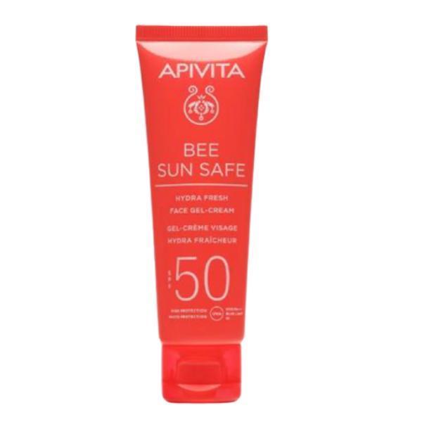 Lotiune de plaja, Hydra Fresh Face Gel Cream SPF50, Apivita, 50 ml