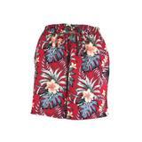 Fusta-pantalon scurta, Univers Fashion, rosu cu imprimeu floral multicolor, 2 buzunare, cordon si elastic la talie, L-XL
