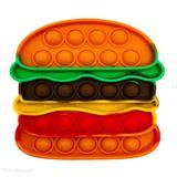 Jucarie antistres din silicon, Pop it Now & Flip it, 14x14 cm, Hamburger, multicolor