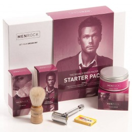 Set Barbierit cu Aparat de Ras Clasic - Men Rock The Double Edged Razor Starter Pack