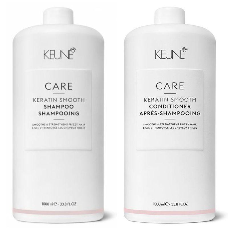 Pachet 1 Keune Care Keratin Smooth 1000 ml - Sampon si Balsam