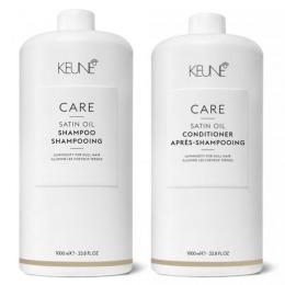 Pachet Keune Care Satin Oil 1000 ml - Sampon si Balsam