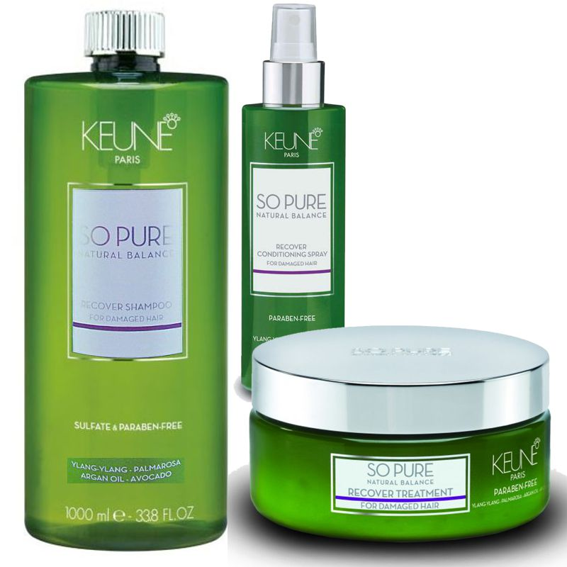 Pachet Keune So Pure Recover - Sampon, Masca-Tratament si Spray Balsam Leave In