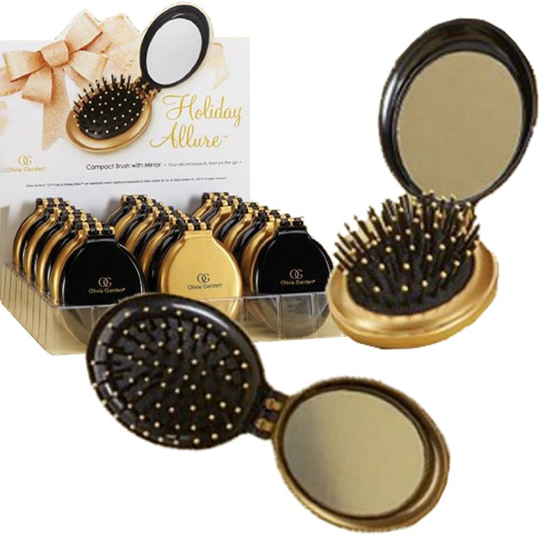 perie compacta cu oglinda - olivia garden holiday allure compact brush with mirror.jpg