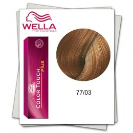 Vopsea fara Amoniac - Wella Professionals Color Touch Plus nuanta 77/03 blond mediu intens natural auriu