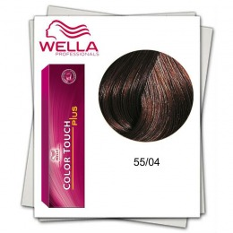 Vopsea fara Amoniac - Wella Professionals Color Touch Plus nuanta 55/04 rosu saten deschis intens