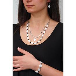 Set bijuterii GANELLI- colier, bratara, cercei din pietre semipretioase Sidef, Perle naturale (cultura)