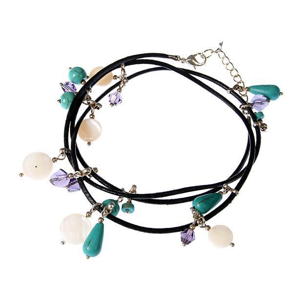 Bratara Ganelli multifunctionala pentru mana glezna sau colier choker din piele naturala neagra si pietre semipretioase Turcoaz Sidef Cristal helix