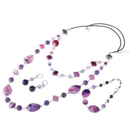 Set bijuterii GANELLI - colier, bratara, cercei din pietre semipretioase Agate Glossy, Ametist