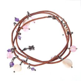 Bratara GANELLI multifunctionala pentru mana, glezna sau colier choker, din piele naturala bej, pietre semipretioase Cuart cherry, Sidef, Cristal helix