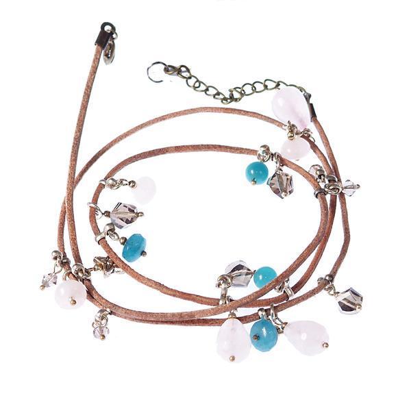 Bratara GANELLI multifunctionala pentru mana glezna sau colier choker din piele naturala bej Cuart roz Amazonit Cristal helix