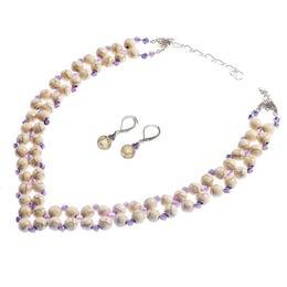 Set bijuterii GANELLI - Colier si Cercei din pietre semipretioase Ametist, Howlit