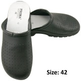 Saboti Negri Piele Perforata - Prima Black Perforated Leather Clogs marime 42
