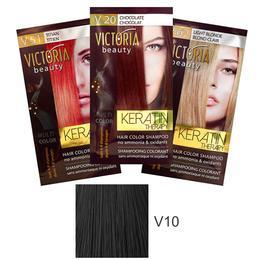 Sampon Nuantator cu Keratina Camco Victoria Beauty Keratin Therapy, nuanta V10 Black, 40ml de la esteto.ro