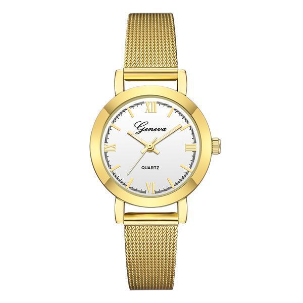 Ceas de dama Geneva, bratara metalica – auriu, stil Casual