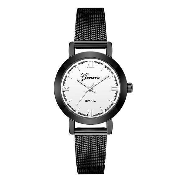 Ceas de dama Geneva, bratara metalica – negru, stil Casual