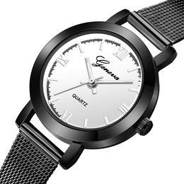 Ceas de dama Geneva, bratara metalica - negru, stil Casual