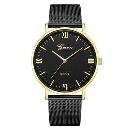 Ceas de dama Geneva, bratara metalica - negru, stil Elegant