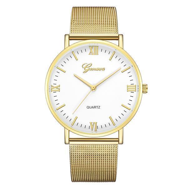 Ceas de dama Geneva, bratara metalica – auriu, stil Elegant