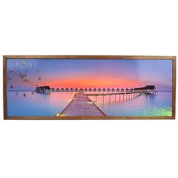 Tablou Cu Ceas Inramat 35x100 Cm Sunset